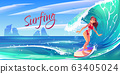 Young surf girl riding ocean wave on board banner 63405024