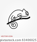 Vector Lizard icon on white background, Vector 63406025