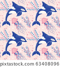 Cute Marine Pattern with Killer Whale and Jellyfish 63408096