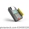 Credit Card trminal Machine 3D rendering on white 63409328