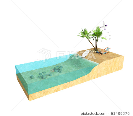 Piece of tropical island with water and palms on a 63409376