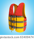 life vest red yellow 3d render on blue background 63409474