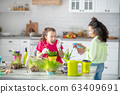 Two girlfriends near the table with garden tools and flowerpots. 63409691