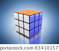 Rubik's cube 3d render  on the blue background 63410157