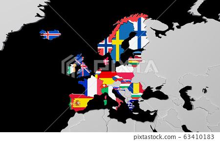 European Economic Area 3d render map 63410183