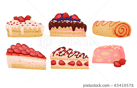Delicious Cakes and Desserts with Berry and Chocolate Toppings Vector Set 63410578