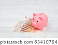 Pink piggy money box on pile of rouble banknotes, 63410794