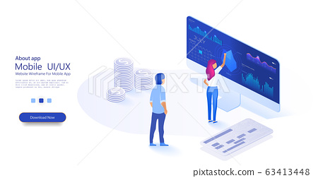 Data analysis concept with characters. PC with business graph and analytics data. Online statistics and data Analytics. People interact with charts. Can use for web banner. Isometric illustration 63413448