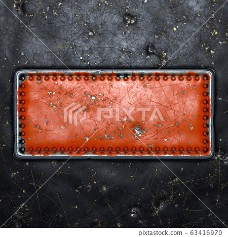 Strip of metal with rivets painted red in the shape of a rectangle in the center on black metal background 3d 63416970