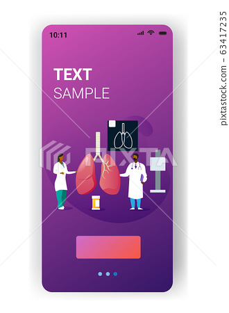 doctors team examining human lungs medical consultation internal organ inspection examination treatment concept smartphone screen mobile app full length copy space vertical 63417235