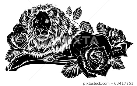 The head of a lion in a flower ornament vector 63417253