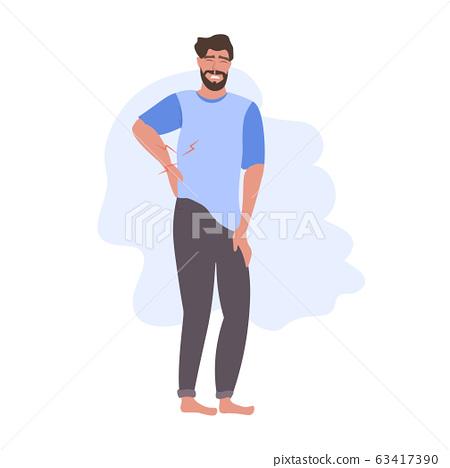man having pain in his back backache problems flat full length 63417390