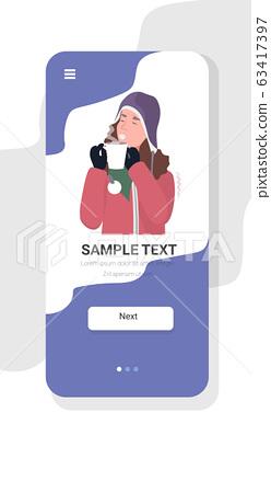 woman catching cold drinking hot tea influenza infection symptoms flu season concept smartphone screen mobile app portrait copy space 63417397