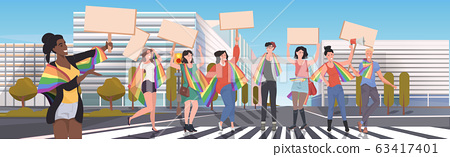 gays and lesbians with lgbt rainbow flags holding protest posters blank placards love parade pride festival demonstration concept cityscape background full length horizontal 63417401