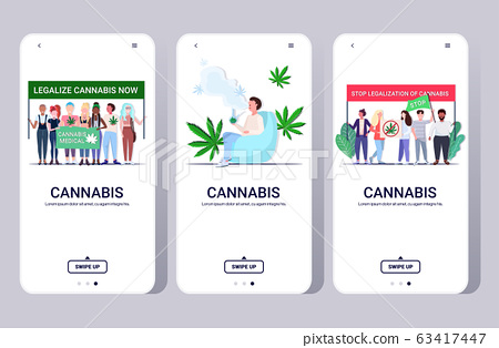 set mix race people holding protest posters man smoking bong medical marijuana cannabis legalization drugs consumption smartphone screens collection horizontal full length 63417447