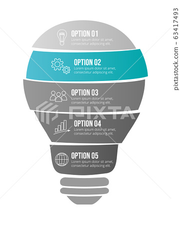 Design of a company timeline with business icons. 63417493