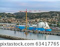Port in Marseille, ship in dry dock. France 63417765