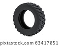 Truck tire or forklift tire, 3D rendering 63417851