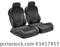 Two black leather bucket seats, car seats. 3D 63417855