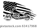 Vintage motorbike with background similar to the American flag vector 63417968