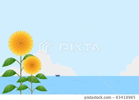 배경 소재 : 여름 하늘과 해바라기와 바다 63418965