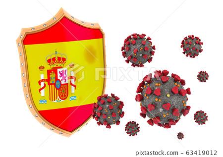 Protection of Spain from coronavirus. 3D rendering 63419012