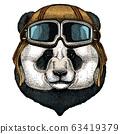 Big panda, bamboo bear portrait. Face of cute animal. Bear head. Vintage aviator helmet with googles. 63419379