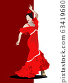 Beautiful young woman dancing flamenco. Vector illustration 63419680