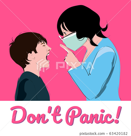 Don't panic. Woman calm the child 63420182