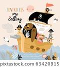 Cute cartoon animals pirates sailing in their ship 63420915