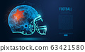 Abstract American football helmet from particles, lines and triangles on blue background. Rugby. All elements on a separate layers, color can be changed to any other in one click. Vector illustration 63421580