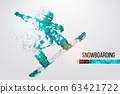 Silhouette of a snowboarder jumping isolated. Dots, lines, triangles, text, color effects and background on a separate layers, color can be changed in one click. Vector illustration 63421722