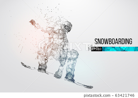 Silhouette of a snowboarder jumping isolated. Dots, lines, triangles, text, color effects and background on a separate layers, color can be changed in one click. Vector illustration 63421746