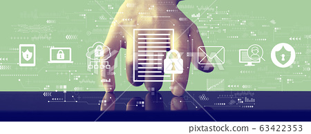 Data protection concept with hand pressing a screen 63422353