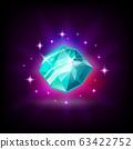 Shining blue diamond, gemstone, slot icon for online casino or logo for mobile game on dark background, vector illustration. 63422752