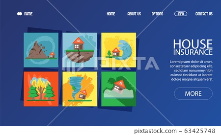 Banner for web cataclysm, bad weather, hurricane wind, flood, thunderstorm and torrential rain vector illustration.