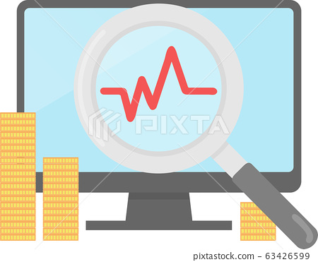 PC with line graph and magnifying glass 63426599
