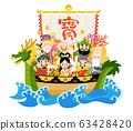 Seven Lucky Gods on a treasure ship 63428420