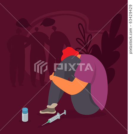 Drug addiction vector illustration. Abused addicted young man or teen sit near drugs and syringe for narcotic injection. 63429429