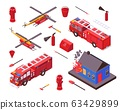 Isometric fire safety, firefighter equipment vector illustration, gear of fire station department set isolated on white 63429899