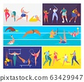 Cartoon sport people vector illustration set, man woman character in healthy sport activity, training, swimming or doing yoga exercise 63429947