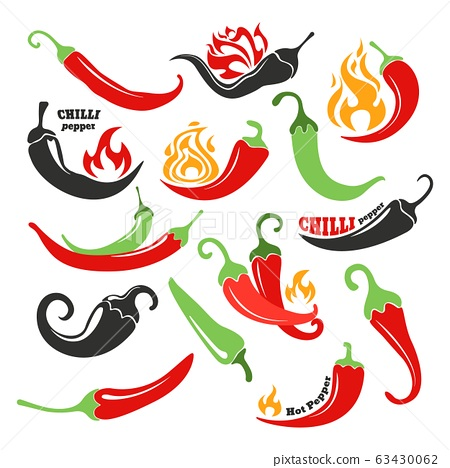 Hot chilli pepper in fire vector illustration set, chili in flame, spicy mexican food isolated icons 63430062