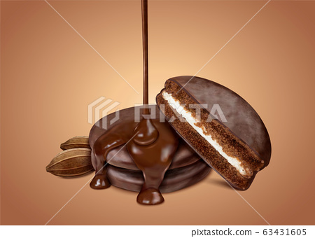 Choco pie with dripping syrup 63431605
