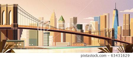 Brooklyn bridge city scene 63431629