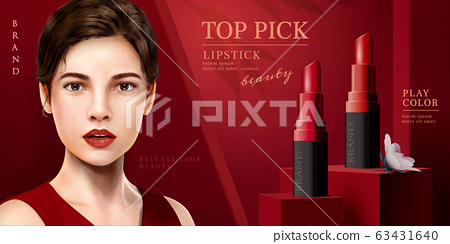 Elegant red lipstick ads 63431640