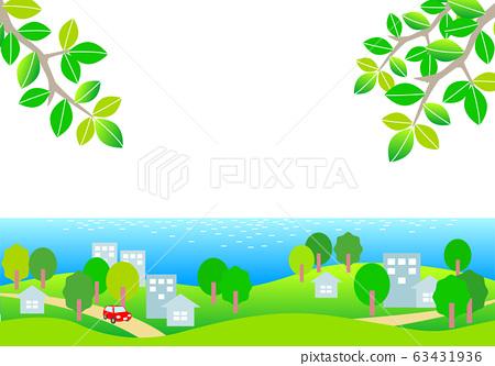 夏季海邊城市景觀和汽車簡單插畫素材 63431936