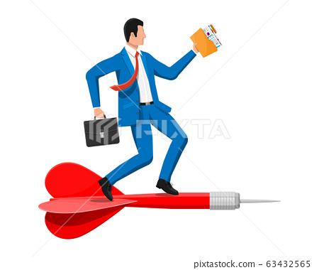 Businessman on dart aim arrow to target. 63432565