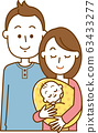 妈妈和爸爸抱着一个婴儿的插图 63433277