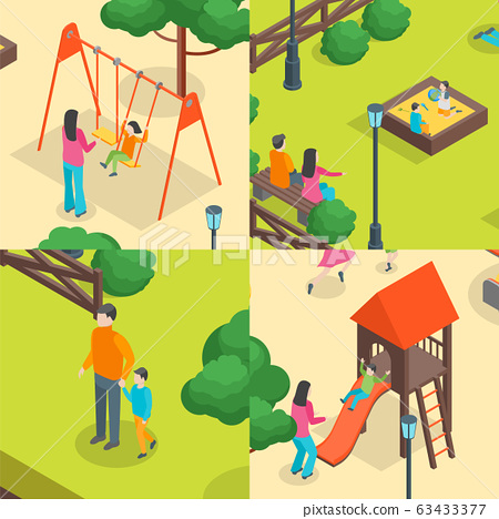 Children Park Concept Banner Set 3d Isometric View. Vector 63433377