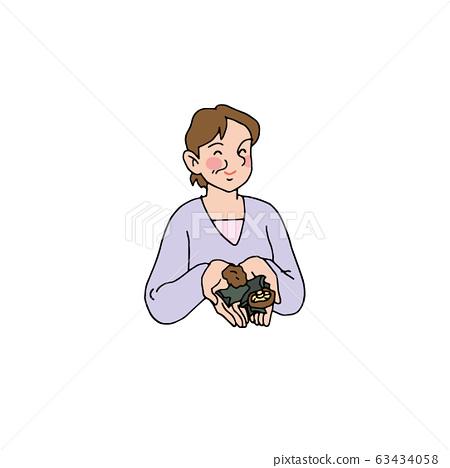 Wife taking dashi with kelp and shiitake mushrooms 63434058